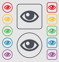 Eye icon sign symbol on the Round and square vector image