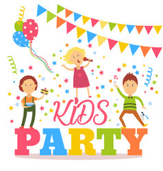 flat cartoon kid party banner poster invitation vector image