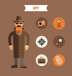 Flat Design of Spy with Icon Set Infographic vector image