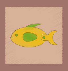 Flat shading style icon kids fish vector