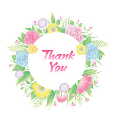 floral frame with thank you text vector image
