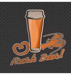 Glass of beer retro vector