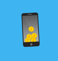 golden coins on smart phone vector image