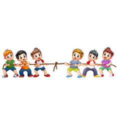 Group of children playing tug of war vector