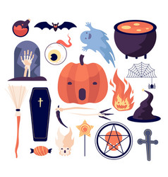 halloween set spiderweb and pumpkin bat and vector image