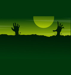 halloween with zombie landscape on green vector image