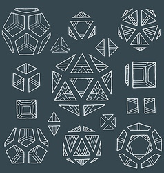 hand drawn polyhedrons collection vector image