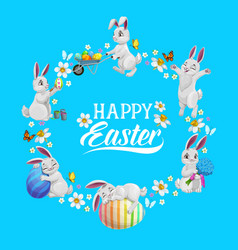 happy easter flower wreath with rabbits and eggs vector image