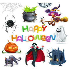 Happy halloween pumpkin spider cat witch vampire vector