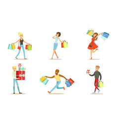 Happy shoppers with packages vector