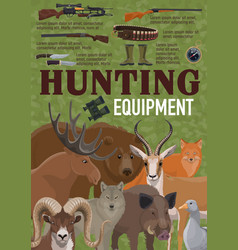 Hunting equipment retro poster with forest animals vector