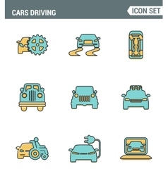 icons line set premium quality cars driving vector image