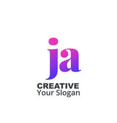 Initial letter ja lowercase design logo template vector