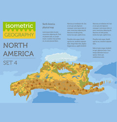 isometric 3d north america physical map elements vector image