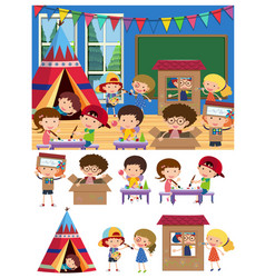 Kids playing and learning in classroom vector