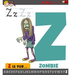 Letter z from alphabet with cartoon zombie vector
