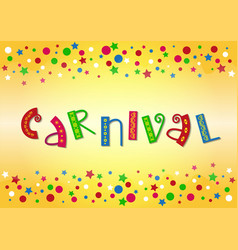 Lettering of carnival with ornament in green red vector