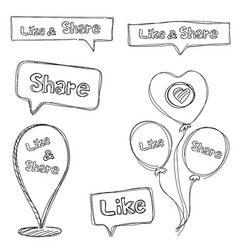 Like and share set in doodles style isolated vector
