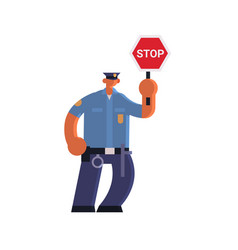 male road traffic police inspector holding stop vector image