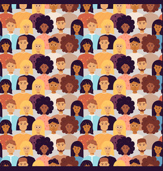 Many people portraits seamless pattern vector
