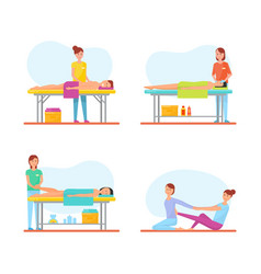 Massage treatment of patients icons set vector