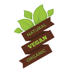 natural vegan organic promo emblem with ribbon and vector image