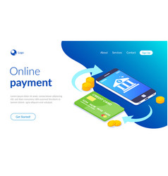online payment with smartphone e-commerce vector image