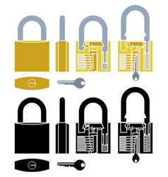 Padlock mechanism working colored and without vector