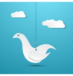 Paper Bird Hang on Rope with Sky and Clouds on vector