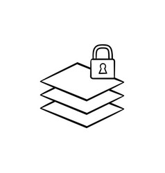 paper stack with lock hand drawn sketch icon vector image