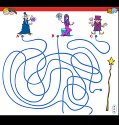 Paths maze game with wizards and magic wand vector