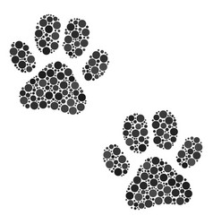 Paw footprints collage of dots vector