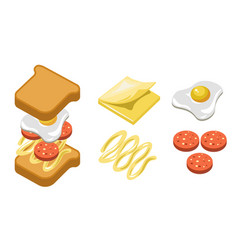pepperoni sandwich ingredients and separate layers vector image