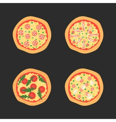 Pizzas with different toppings including vector image