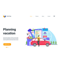 Planning vacation landing page man tourist vector
