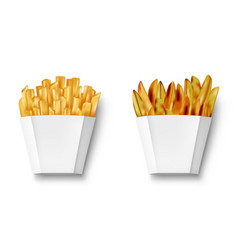 potatoes french fries and potato wedges in paper vector image