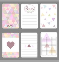 printable cute design cards triangle and geometriz vector image