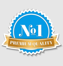 quality sticker with gold ribbon vector image