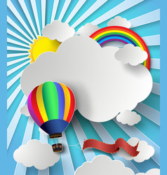 Rainbow on cloud with hot air balloon vector