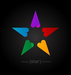 Rainbow Star made of hearts on black background vector