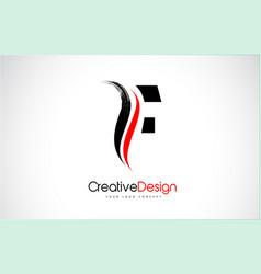 Red and black f letter design brush paint stroke vector