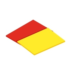 Red and yellow referee cards isometric 3d icon vector image