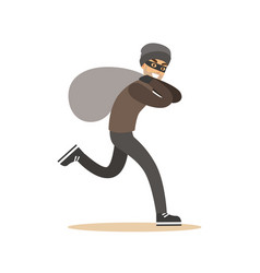 robber in mask running with huge sack colorful vector image