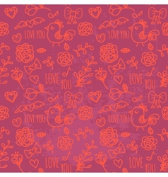 Seamless pattern of Valentines day vector image