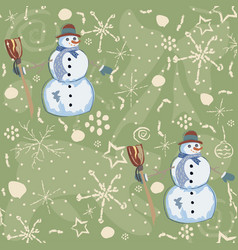 seamless pattern with snowman on green background vector image