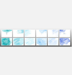 set green blue pastel watercolor background vector image