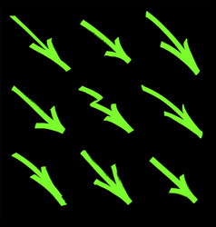 Set of graffiti arrows drawn by a green marker on vector
