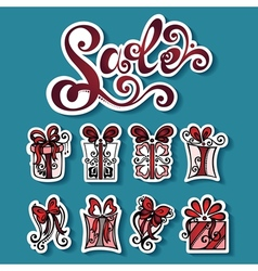 Set of Stickers with Ornamental Holiday Gifts vector