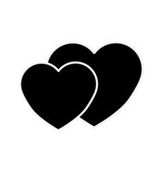 Silhouette beautiful romantic heart color icon vector