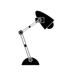 Silhouette office desk lamp light icon vector